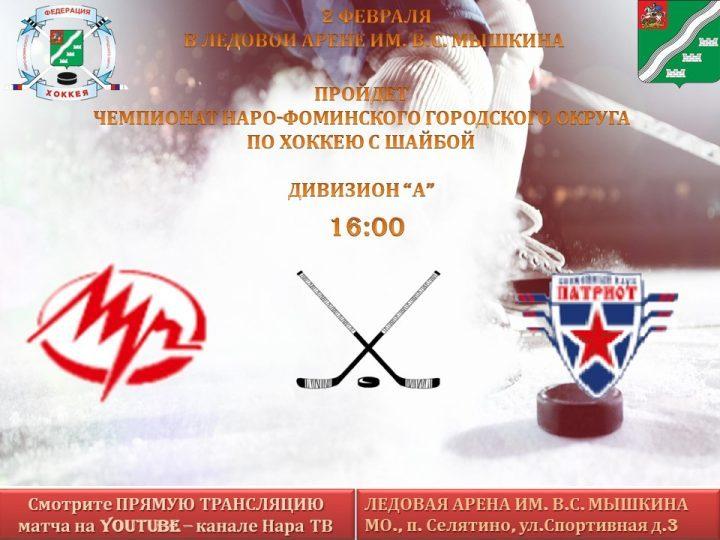 Чемпионат по хоккею с шайбой 2 февраля  в 16:00
